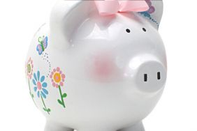 FLUTTERFLIES LARGE PIGGY BANK