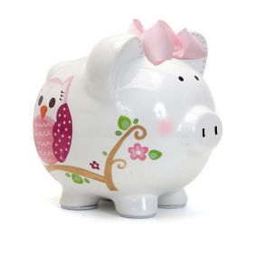 PINK DOTTED OWL PIGGY BANK #36