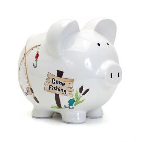 GONE FISHING PIGGY BANK #36870