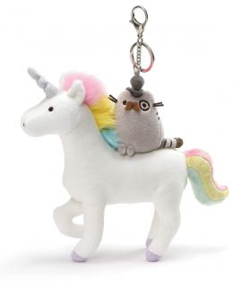 PUSHEEN ON UNICORN KEYCHAIN #4