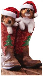 CHRISTMAS PUPPIES IN COWBOY BOOTS