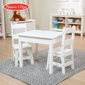 WOODEN TABLE & CHAIRS-WHITE