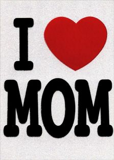 I LOVE MOM GLITTER MOTHER'S DAY CARD
