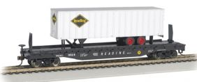 HO 52' READING FLATCAR W/TRAIL