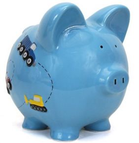 BLUE CONSTRUCTION PIGGY BANK #