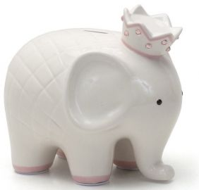 COCO ELEPHANT BANK-WHITE W/PNK