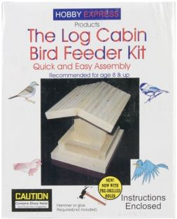 THE LOG CABIN BIRD FEEDER KIT #6009 BY HOBBY EXPRESS