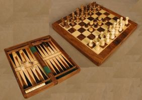 "WOOD 11.5"" FOLDING 3 IN 1 GAME"