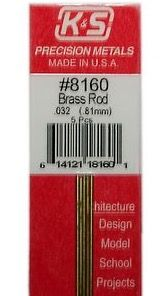 SOLID BRASS ROD 1/32X12 5PK