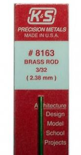 SOLID BRASS ROD 3/32X12""