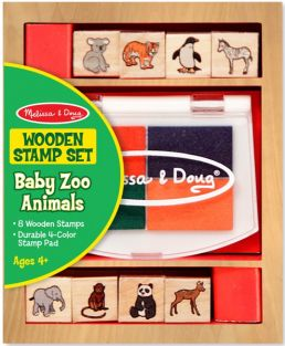 (D) BABY ZOO ANIMALS WOODEN STAMP