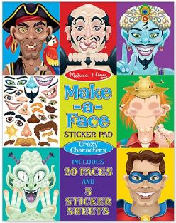 CRAZY CHARACTERS MAKE-A-FACE STICKER PAD