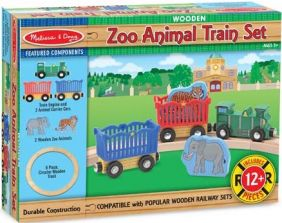 WOODEN ZOO ANIMAL TRAIN SET