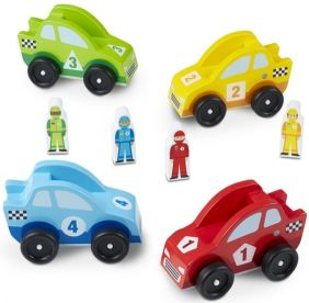 WOODEN RACE CAR VEHICLE SET