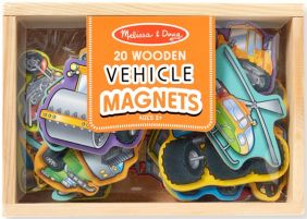 WOODEN VEHICLE MAGNETS IN A BO