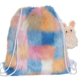 FUZZY MULTI CHECKERED BACKPACK W/ CLIP ON STUFFED ANIMAL