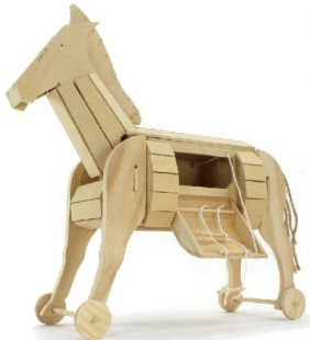 ANCIENT TROJAN HORSE WOODEN MO